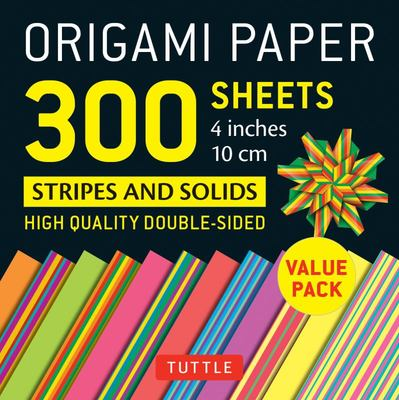 """Origami Paper 300 sheets Stripes and Solids 4"""" (10 cm): Tuttle Origami Paper: High-Quality Origami Sheets Printed with 12 Different Designs"""