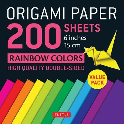 Origami Paper 200 Sheets Rainbow Colours Double-Sided