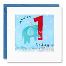 You're 1 Today - Elephant Shakies Card