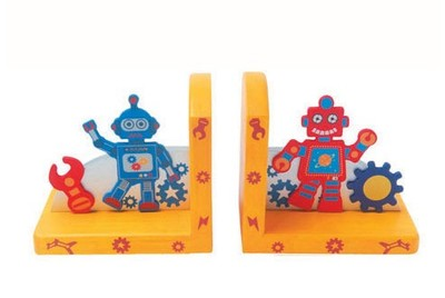 Wooden Space / Robot Book Ends