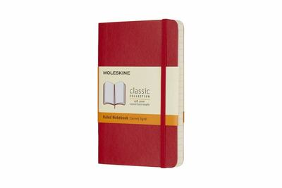Scarlet Red Pocket Notebook Ruled Soft Cover Moleskine