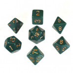D7 Die Set Dice Opaque Polyhedral Dusty Green/Copper (7 Dice in Display)
