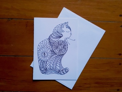 Cat Colouring-in Card