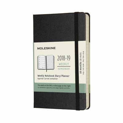 Black Pocket Weekly Notebook Hardcover 18 Month 2018/19 Moleskine Diary