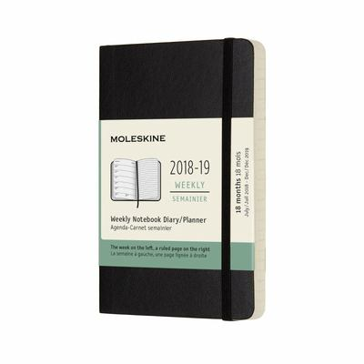 2018-2019 Black Weekly Notebook Pocket Softcover Academic Diary Moleskine