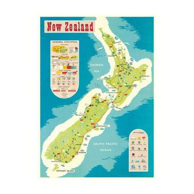 Poster wrap Statistics of New Zealand Map