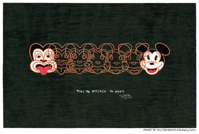 Dick Frizzell Mickey to Tiki (reversed) Small Art Print Framed White