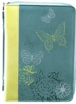 Bible Cover Butterflies Leather Lime/Teal