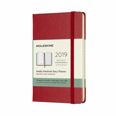 2019 Weekly Notebook Red Pocket Hardcover Diary Moleskine