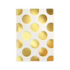 Shimmer Large Gold Polka Cream - A5 Notebook