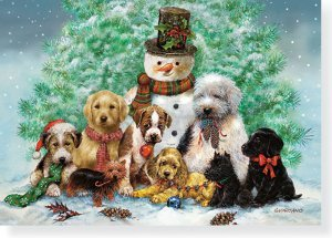 Puppies and Snowman Small Boxed Holiday Cards