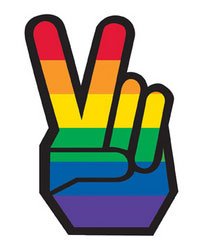 Sticker - Rainbow Pride Peace Fingers