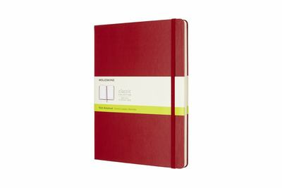 Scarlet Red Extra Large Hardcover Plain Moleskine Notebook