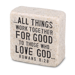 Scripture Stone Plaque Romans 8:28