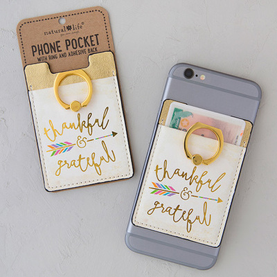 Phone Accessories//Phone Pocket Ring Thankful/Grateful