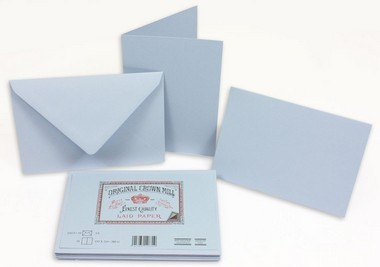 Large crown mill classics c6 set of 15 folded cards   envolopes blue 12631 small