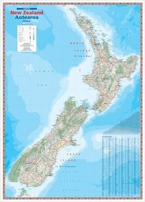 New Zealand Aotearoa Laminated Wall Map 900 x 1270mm