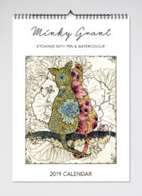 2019 Minky Grant: Etchings with Pen & Watercolour Wall Calendar (BIP 0046)