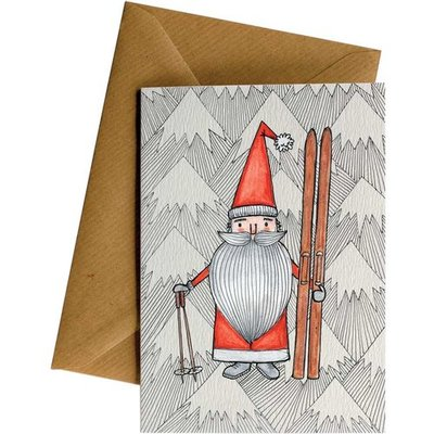 Card LD Christmas Santa Skis