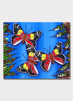 Card - Oral James Roberts Butterflies (Red/Black)