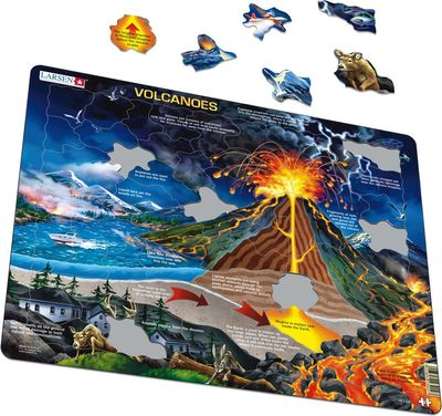 Volcanoes Framed Puzzle 70 pce