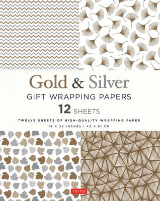 Gold and Silver Gift Wrapping Papers - 12 Sheets of High-Quality 18 X 24 Inch Wrapping Paper