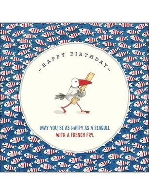 CARD - HAPPY BIRTHDAY. MAY YOU BE AS HAPPY AS A SEAGULL (BLUE/RED)