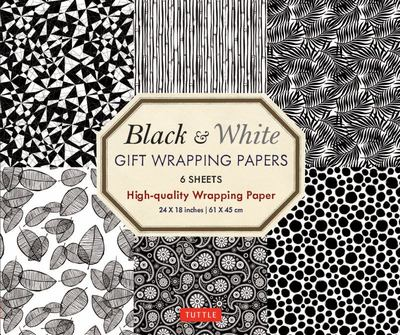 Black and White Gift Wrapping Papers - 6 Sheets - 6 Sheets of High-Quality 18 X 24 Inch Wrapping Paper