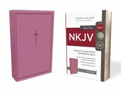 NKJV Compact Large Print Reference Bible Pink Leathersoft Red Letter Edition