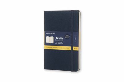 Moleskine Two-Go Notebook Canvas Cover Medium Ruled Plain Oriental Blue