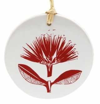 Hanging Decoration - Pohutukawa Red on White Jo Luping 8cm