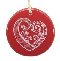 Hanging Decoration - Aroha White on Red 8cm