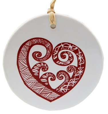 Hanging Decoration - Pacific Aroha Red on White 8cm