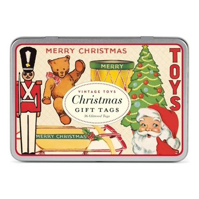 Vintage Toys Christmas Gift Tags (36 in tin)