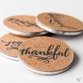 Coaster Set Cork/Metal Thankful Grateful Blessed Joyful
