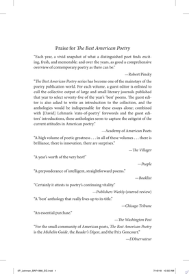 The Best American Poetry 1988 - Thirtieth Anniversary of the Debut Collection