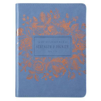 Journal Strength & Dignity Blue Debossed Luxleather