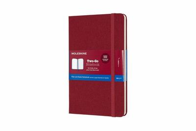 Two-Go Ruled/Plain Cranberry Red Large Notebook - Moleskine
