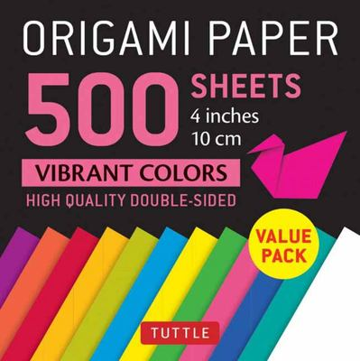 Origami Paper 500 Sheets Vibrant Colors 4 (10 Cm) - Tuttle Origami Paper - High-Quality Origami Sheets Printed with 12 Different Colors