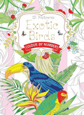 Exotic Birds Postcard Book - Colour by Numbers
