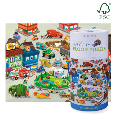 Busy City Floor Puzzle 50p Lrg canister