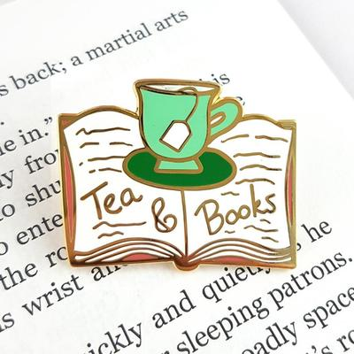 Tea and Books Lapel Pin