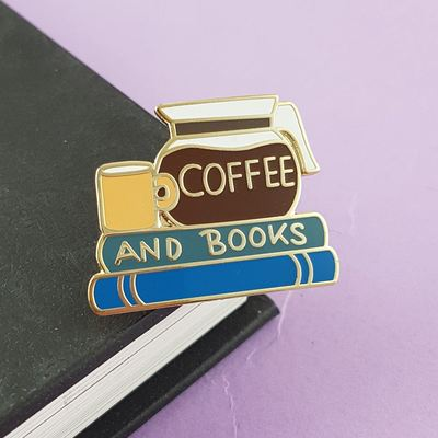 Large coffee and books jubly umph lapel pin