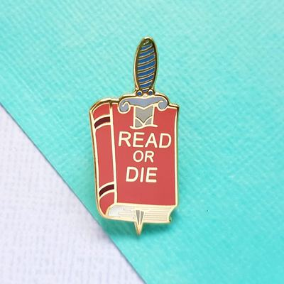 Large read or die jubly umph lapel pin