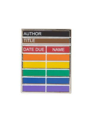 Large library pride out of print enamel pin