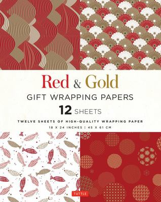 Red and Gold Gift Wrapping Papers - 12 Sheets of High-Quality 18 X 24 Inch Wrapping Paper