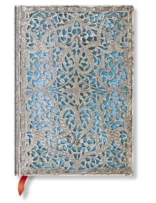 Silver Filigree Maya Blue- Paperblanks Journal (Lined Midi)