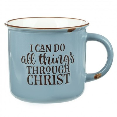 Mug Camp Style I Can Do All Things Blue/White - Phil 4:1