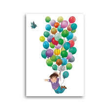 Flying with Balloons - blank card