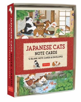 Japanese Cats Note Cards - 12 Blank Note Cards and Envelopes (6 X 4 Inch Cards in a Box)